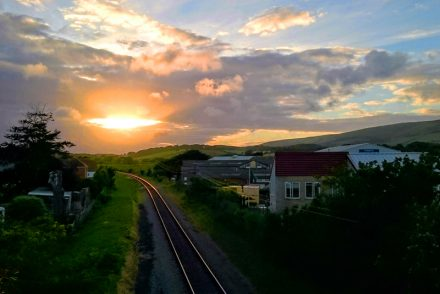 Sunset over Swanage Railway
